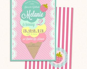 Printable invitations - ice cream invitation - ice cream cone invitation - ice cream theme - Freshmint Paperie