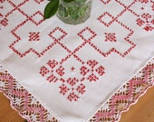 French Vintage Red Cross-Stitch Table Mat with Lace Edging