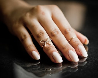 Bow Knuckle Ring + Plain Midi - Handmade. Tarnish Resistant. Hypoallergenic. Adjustable Plain Midi. In Gold, Silver, Copper / Rose Gold.