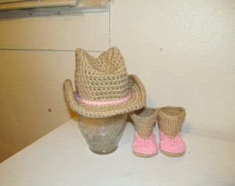 Hand Crocheted Baby Cowgirl Hat - Made to Order