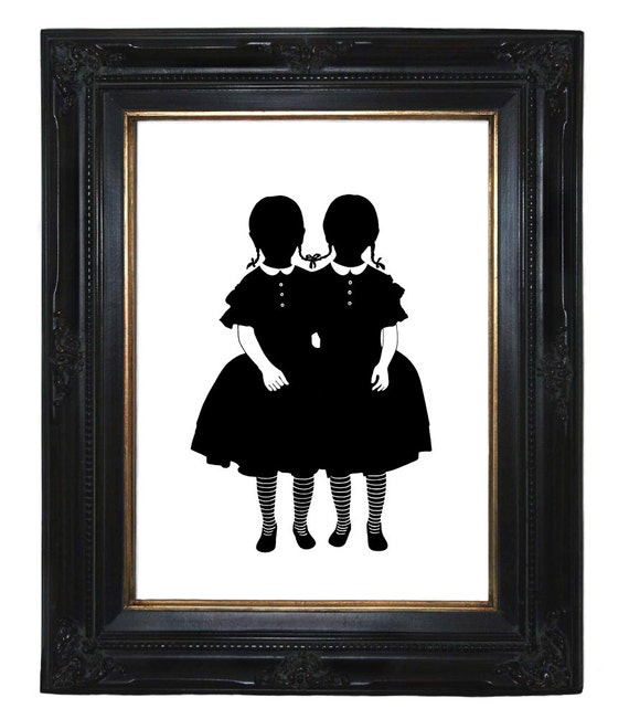 Silhouette conjoined twins girls Victorian Steampunk Siamese art print