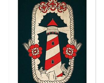 Lighthouse, Neo-Traditional Tattoo Flash, Nautical, Old School, Art Print 12x16