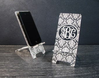 Personalized Monogram Damask iPhone Dock - Monogrammed Universal Cell Phone Stand - 5 Sizes Custom Fit for iPhone 6, 6 Plus, iPhone 5, i4