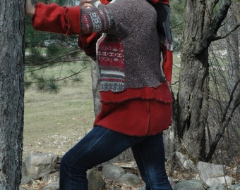 Recycled cardigan...Himalayan Autumn---The Tea Harvest Season...by Sofie's Softies.