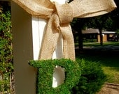 """14"""" Moss Letter with Burlap Ribbon, Ribboned Letter, Moss Covered Monogram, Moss Initial, Door Wreath, Wedding Moss Letter"""