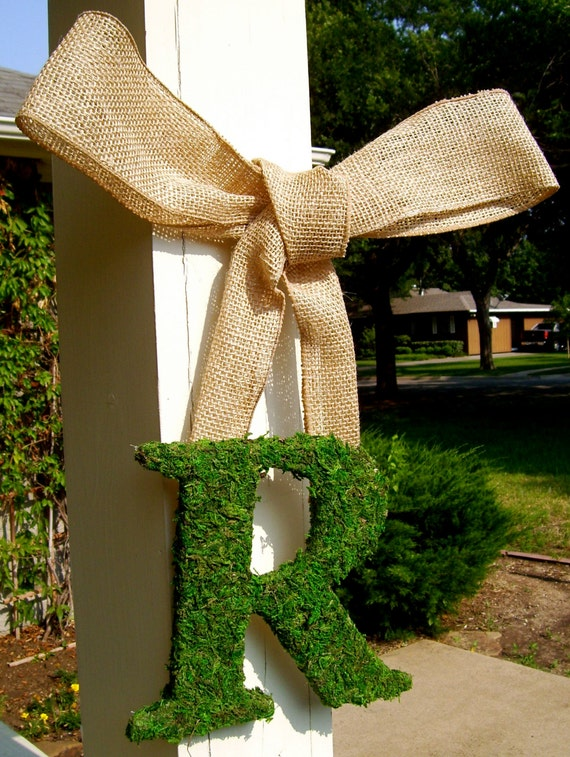 "12"" Moss Letter with Burlap Ribbon, Ribboned Letter, Moss Moss Monogram, Christmas Moss, Door Wreath"