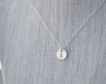 3/8 inch Sterling Silver Initial Necklace / Personalized stamped necklace / Bridesmaid necklace / Disc Necklace