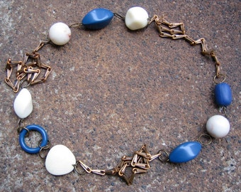 Eco-Friendly Statement Necklace - Cool, Calm  and Collected - Unusual Recycled Vintage Chain and Beads in Cadet Blue and Off-White