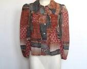 Vintage 1970s Byer California Boho / Patchwork Print Babydoll Shirt / Cropped Blouse