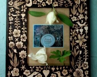 custom lovebird flower leaf  frame-romantic rustic night forest ooak design- woodburning- woodsy home decor