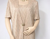 Dress and Coat Suit Vintage Women's Beige Dress Size 12 Golden Brown Joseph Ribkoff On Sale Neutral Mother of the Bride Formal Shift
