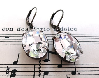 Swarovski Crystal Earrings Oval Diamond Classic Bride Bridesmaid Wedding