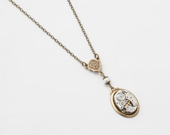 Steampunk Jewelry Steampunk Necklace vintage silver watch movement gears pearl Victorian gold leaf filigree pendant Gift Statement Necklace