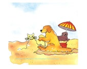 Original Golden Retrievers Dog Watercolor Painting, Funny Dogs On Beach, Shipping RESERVED for SUSAN