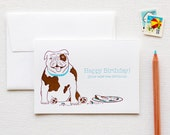 Happy Birthday English Bulldog Letterpress Card