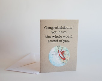 Congratulations Recycled Mini Map Card // Custom City, State, or Country // Graduation // Congrats