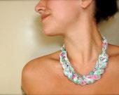 Fabric Statement Necklace - Pastel Bohemian Flowers