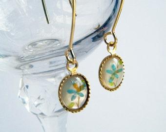Vintage Pearl Back Painted Flower Earrings