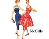 1950s Sybil Connolly Dress Pattern McCalls 4481 Bust 31 Camisole Princess Seam Evening Sheath Overskirt Womens Vintage Sewing Patterns