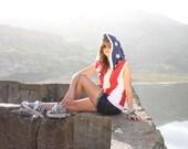 American Flag Hoodie - jacket - windbreaker vest - womens clothing - womens jacket - flag clothing - sleeveless jacket - upcycled clothing