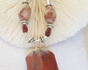 Red Chalcedony Necklace and Rhodonite Beads,   ID 048