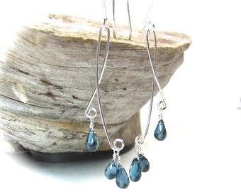 London blue topaz earrings in sterling silver. Long blue topaz briolette earrings.  Blue gemstone dangle drop earrings - MADE TO ORDER