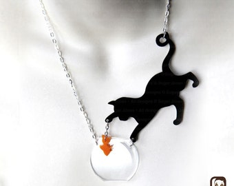 The Original Genuine SUGAR JONES Cat Necklace - Cat with Fish  - Catchin'  Fish - Made in UK - Kitty FishBowl Necklace