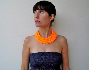 neon choker, summer necklace, statement necklace - The triple braid necklace - handmade in neon orange fabric
