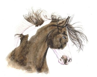 Horse Painting, horses, 8x10,  original watercolor, art & collectibles, art   earthspalette