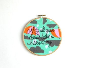 silver linings embroidery hoop wall art