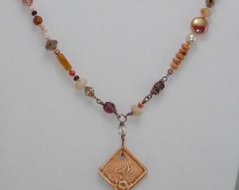 Drop-Pendant Necklace, Neutral Colors, Multi-Stone, Bead, Pearl