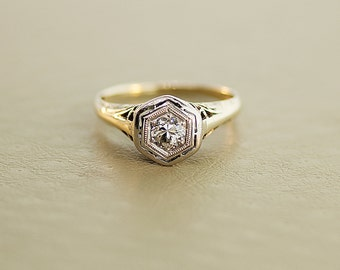 Antique Edwardian Ring - Filigree Diamond Engagement Ring