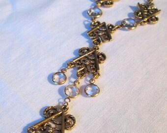 Vintage Bezel Set Clear Glass Crystal Etruscan Link Double Drop Necklace