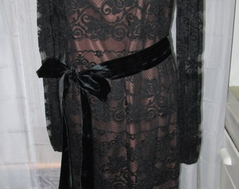"INCREDIBLE Vintage 1960's Black Chantilly Lace Illusion Dress ""Be My Lover"""