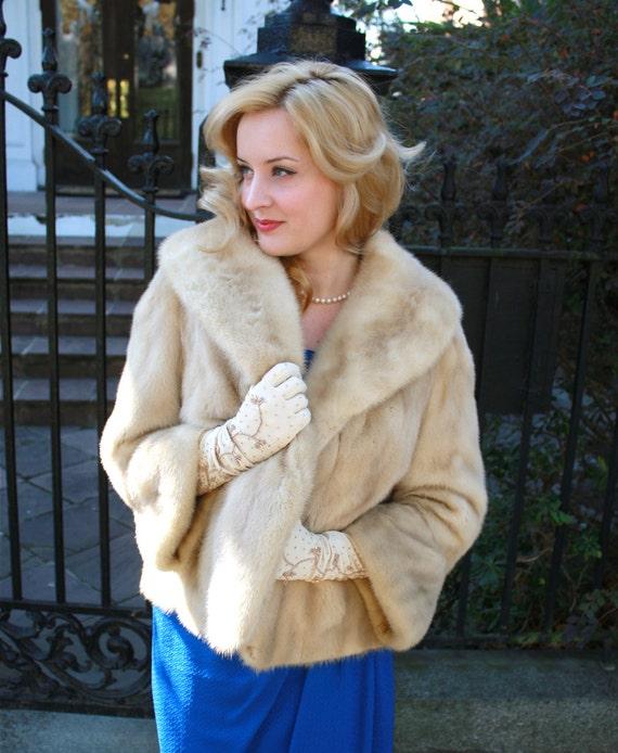 luxurious vintage 50s honey blonde mink fur coat