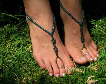 Turquoise and Butterfly Barefoot Sandals, Foot Thong, Slave Anklet, Ankle Bracelet with Toe Ring