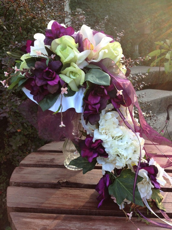 Real Touch Rose Cascading Silk Bridal Bouquet And By Mtfloral