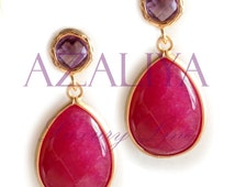 Marsala Earrings. Marsala Color Dangles. Marsala Crystal Chandeliers. Wine Red Dangles. Azaliya Luxury Line. Bridal, Bridesmaids Gifts.