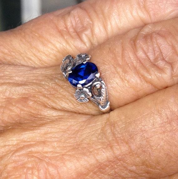 vintage signed kashmir blue sapphire sterling ring