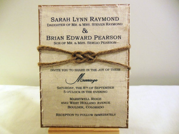 DIY Rustic Wedding Invitation Kit Burlap Fabric by PoshestPapers