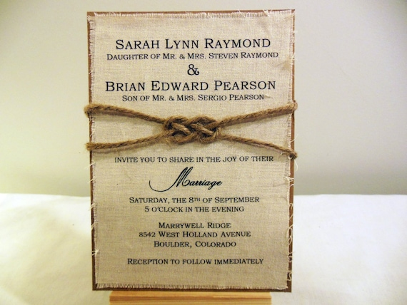 Printable Wedding Invitations Kits: DIY Rustic Wedding Invitation Kit Burlap Fabric By