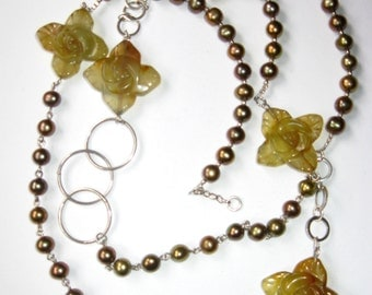 Exclusive flowers Korean Jade necklace, bronze Pearls and 925 sterling Silver
