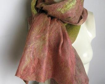 SALE Felt Scarf, Felted Scarf, Felted Shawl, Felted Wrap, Wool Scarf, Pink Green Shawl, Cobweb Scarf, Hand Felted Scarf, Gift For her