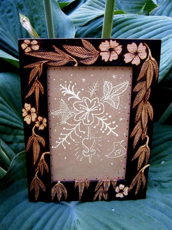 custom frame -blossom leaf design - artist decorated -housewares- ooak woodburned by burnedfurniture somerville ma