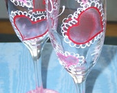 Valentine Champagne Glasses  Hand Painted