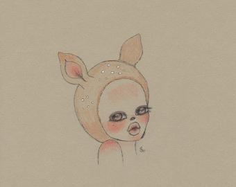 Fawn girl art print, deer girl pencil drawing 5x7