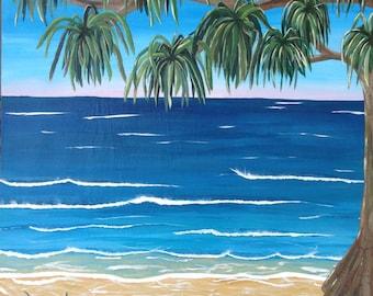 Original Acrylic Modern Vibrant Landscape Beach Painting