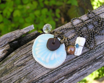 white topaz, biwa pearl, blue topaz, sea glass, and artisan ceramic sea shell gemstone charm necklace. long necklace. beach inspired. OOAK.