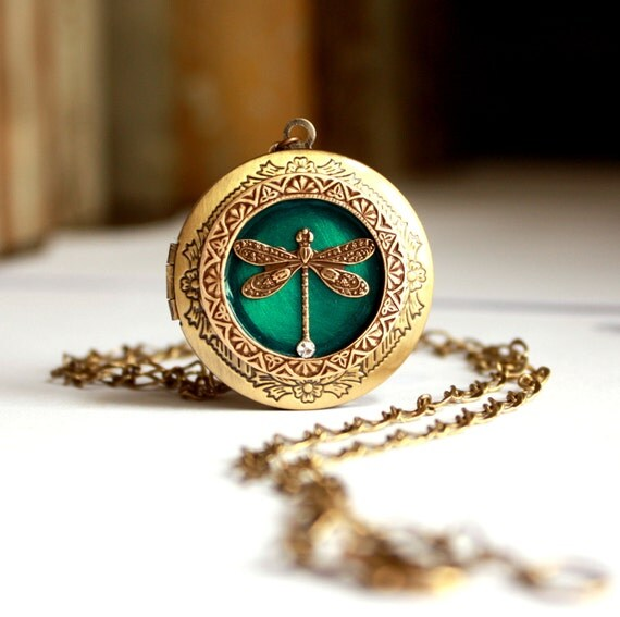 Brass Dragonfly Locket / Blue / Green / Wedding Locket / Bridal Necklace / Secret Message Locket / Personalized