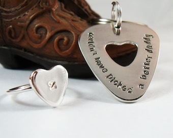 His and Hers Sterling Silver Guitar Pick and Ring Set - Couples Gift - Father Daughter Gift - Fathers Day Gift -Valentine's Gift